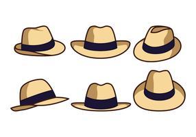 Icônes de chapeau de Panama vecteur