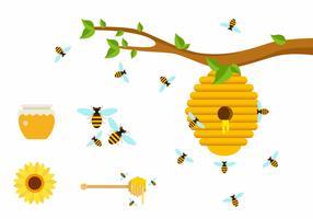 Abeilles plates au miel vecteur