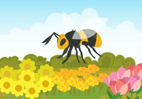 Un Hornet dans le champ de fleurs vecteur