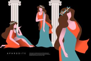 Aphrodite Vector Flat Illustration de caractères grecs