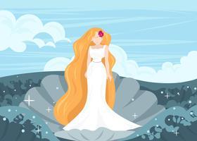 Déesse grecque Aphrodite dans un vecteur de coquille