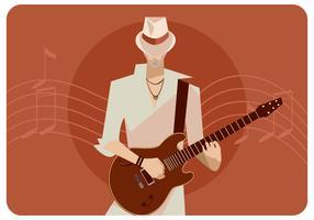 Guitariste avec un chapeau blanc vecteur