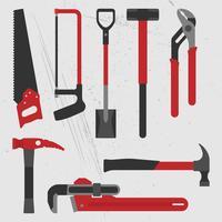 Ensemble d'outils à main de construction vecteur