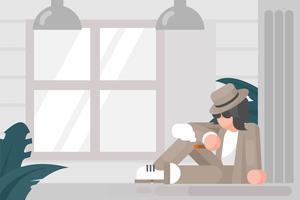 Personne à Panama Hat Illustration vecteur