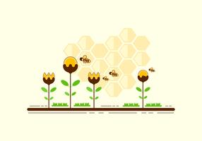 Hornets de dessin animé sur le vecteur de fleurs