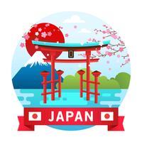 Sanctuaire, Fuji, Sakura Japon Paysage vecteur