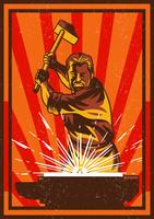 Homme avec Sledgehammer vecteur