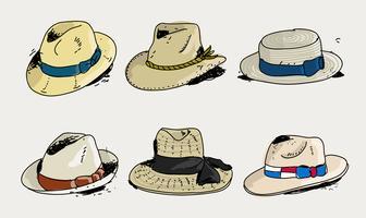 Collection de chapeau de Panama dessinés à la main Doodle Vector Illustration