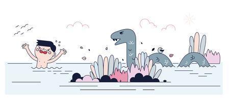 Vecteur gratuit de monstre de lac