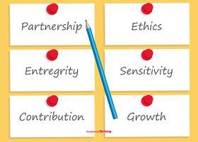 Notes autocollantes avec responsabilités sociales écrites