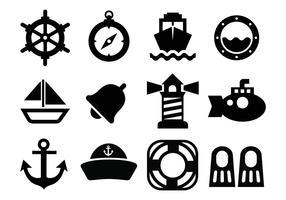 Vecteur gratuit d'icônes nautiques