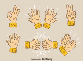 Vecteur de geste mains dessinées à la main