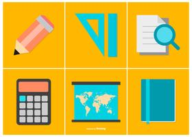 Collection d'icônes de l'éducation colorée vecteur