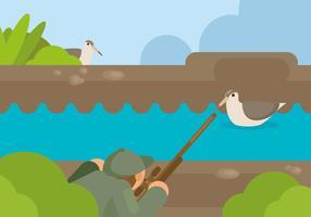 Illustration de chasse à la bécassine