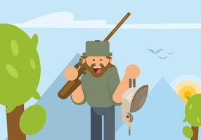 Illustration de chasse à la bécassine vecteur