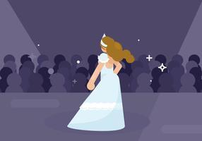 Modèle dans une robe avec des volants Illustration