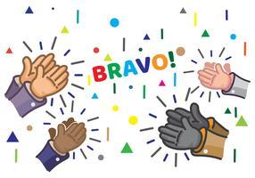 Mains de dessin animé applaudissant la célébration vecteur