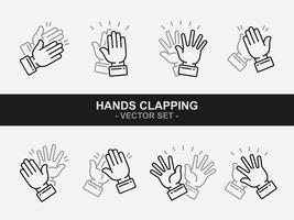 Mains, applaudir les icônes vectorielles vecteur