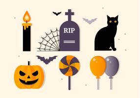 Collection d'éléments de vecteur plat Halloween gratuit