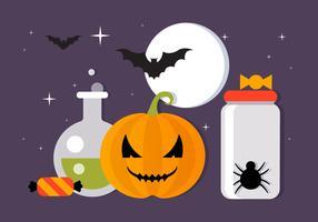 Collection d'éléments vecteur effrayant gratuit Halloween