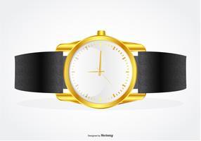 Bande de poignet très détaillée avec illustration de montre en or vecteur