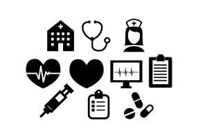 Vecteur de Silhouette de ligne médicale gratuit coeur