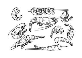 Croquis gratuit de vecteur d'icône de croquis de crevettes