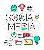 Illustration vectorielle de médias sociaux linéaire gratuit vecteur