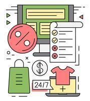 Linear Shopping Illustration vectorielle