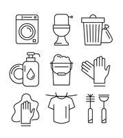 Icônes de nettoyage de ménage linéaire vecteur