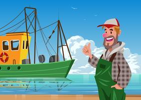 Équipage de bateau de trawler vecteur