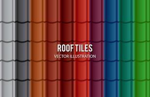 Ensemble de tuile de toit de couleur différente vecteur