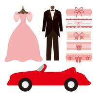 Mariée libre, marié et vecteur de jarretière