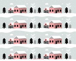 Modèle de vecteur de paysage d'hiver