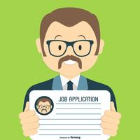 Recherche d'emploi mignon / Illustration d'application vecteur