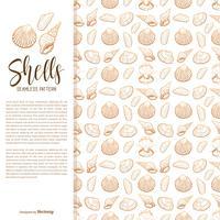Coquillages de mer dessinés à la main vecteur