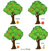 Collection d'arbres fruitiers vecteur mignon
