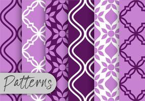 Ensemble de motifs de décor violet vecteur