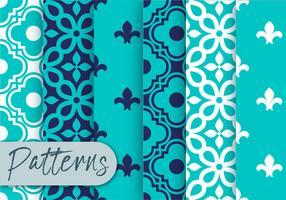 Ensemble de motifs de décor bleu vecteur