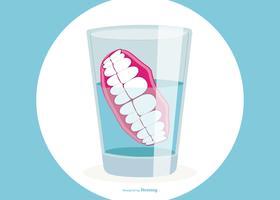 Prothèses dentaires dans le verre d'eau Illustration vecteur