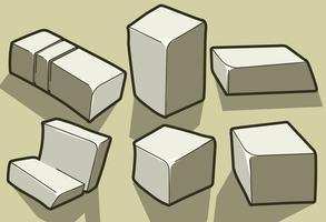 Vector Tofu Cheese Cartoon Illustrations de style