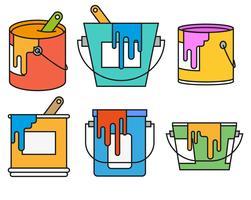Set d'icônes de couleur de pot de peinture de vecteur