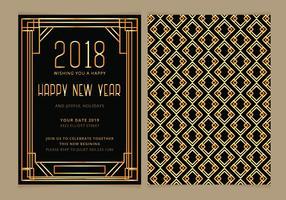 Invitation de fête de nouvel an de vecteur de l'art déco