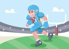 Joueur de football universitaire courir avec ballon vecteur