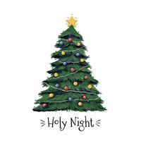 Vecteur de l'arbre de Noël sainte nuit