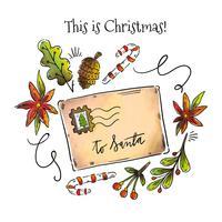Lettre de Noël au père Noël avec des feuilles de Noël vecteur