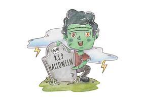 Mignon Frankenstein Zombie en cimetière scène vecteur