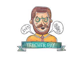 Aquarelle enseignant homme portant des lunettes et souriant avec bulle de dialogue et ruban au jour de l'enseignant vecteur