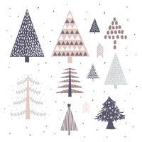 Arbres de Noël dessinés à la main vecteur