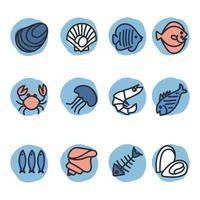 Icônes de fruits de mer vecteur